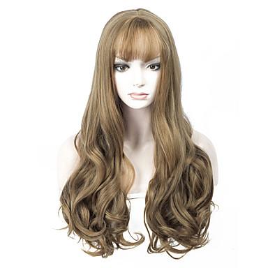 Synthetische Haare Perücken Wellen Kappenlos Natürliche Perücke Lang Braun