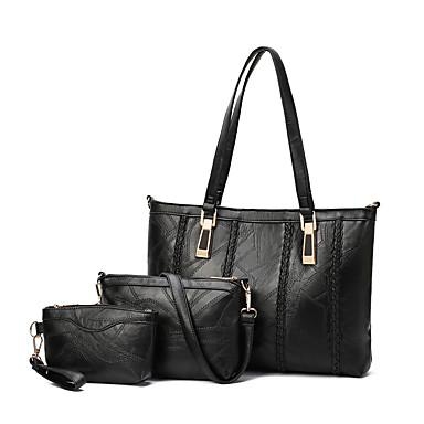 Mulheres Bolsas PU Conjuntos de saco 3 Pcs Purse Set Ziper para Casual Todas as Estações Preto Cinzento Vinho