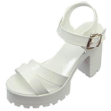 Naiset Sandaalit Comfort Kesä PU Leveä korko Valkoinen Musta 5in tai enemmän