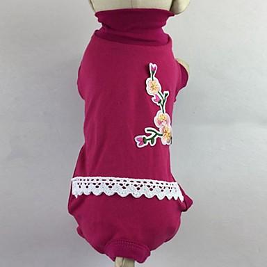 Gato Cachorro Camiseta Macacão Pijamas Calças Roupas para Cães Floral / Botânico Rosa Verde Algodão Ocasiões Especiais Para animais de