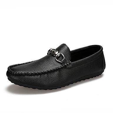 Homens sapatos Couro Ecológico Primavera Verão Conforto Mocassins e Slip-Ons para Casual Ao ar livre Branco Preto Laranja