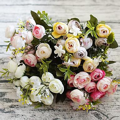 زهور اصطناعية 1 فرع أسلوب بسيط Camellia أزهار الطاولة