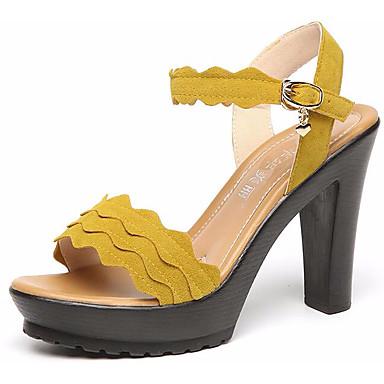 Naisten Kengät Synteettinen Kesä Persu avokkaat Sandaalit Kiilakantapää Avokärkiset korkokengät varten Kausaliteetti Musta Keltainen