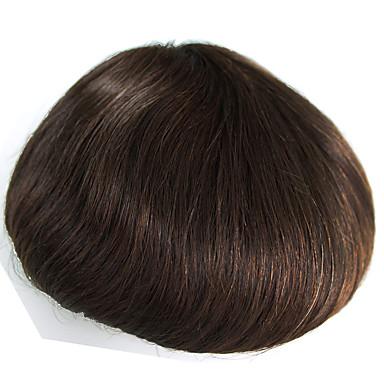 hiuksista hiuslisäke miesten läpinäkyvä ohut iho pu 8 x 10 suorat hiukset kappaletta miesten # 3 hiukset korvaavasta järjestelmästä