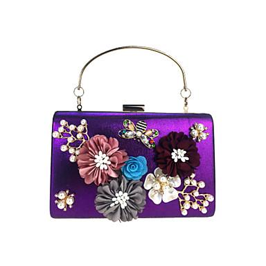 abordables Sacs-Femme Strass / Billes / Pétale Similicuir Pochette Sacs de soirée en cristal strass Fleur Bleu Ciel / Violet / Fuchsia / Broderie