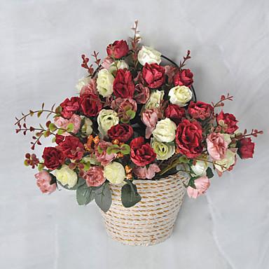 1 Větev Umělá hmota Růže Květina na stůl Umělé květiny