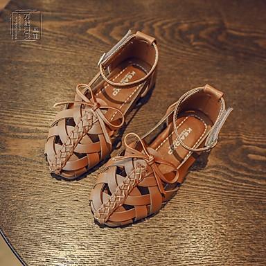 Tyttöjen kengät Tekonahka PU Kevät Kengät kukkaistytölle Sandaalit Kävely Tarranauhalla Käyttötarkoitus Ulkoiluvaatteet Musta Beesi Ruskea