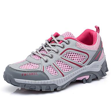 Mulheres Sapatos Couro Ecológico Primavera Outono Tênis Aventura Sem Salto Ponta Redonda Combinação para Cinzento Fúcsia Verde Tropa