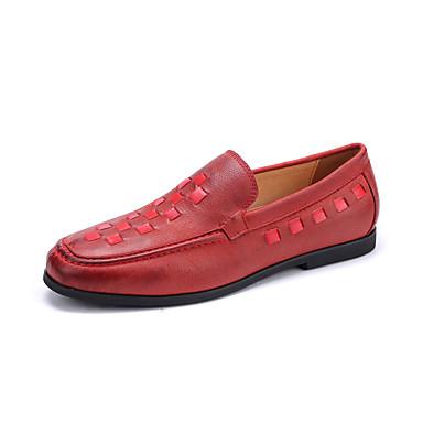 Homens sapatos Pele Granulada Primavera / Outono Mocassim Mocassins e Slip-Ons Preto / Vermelho / Festas & Noite