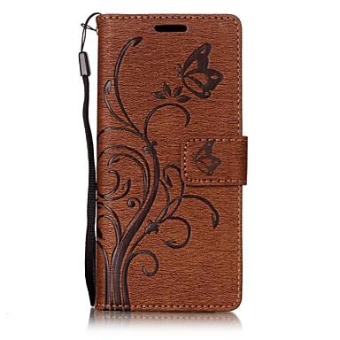 Capinha Para Sony Sony Xperia XA Porta-Cartão Carteira Com Suporte Flip Com Relevo Capa Proteção Completa Borboleta Flor Rígida PU Leather