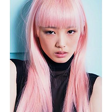 Synthetische Lace Front Perücken Glatt Mit Pony Rosa Damen Spitzenfront Natürliche Perücke Medium Lang Synthetische Haare