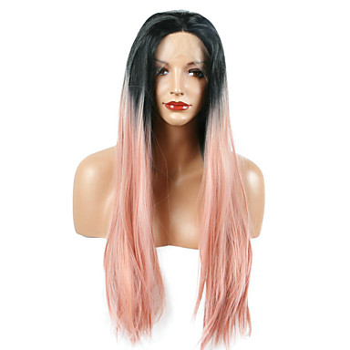 Syntetické paruky Volný Přírodní vlasová linie Ombre vlasy Růžová Dámské Se síťovanou přední částí Přírodní paruka Dlouhý Umělé vlasy