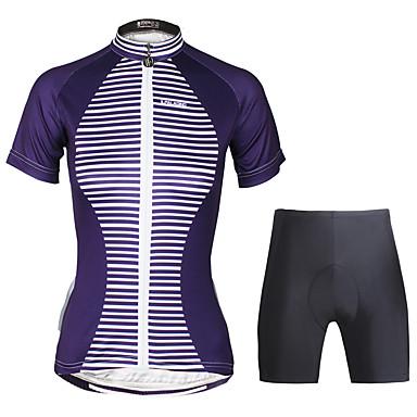 ILPALADINO Mulheres Manga Curta Camisa com Shorts para Ciclismo - Preto Moto Conjuntos de Roupas, Tapete 3D, Secagem Rápida, Resistente
