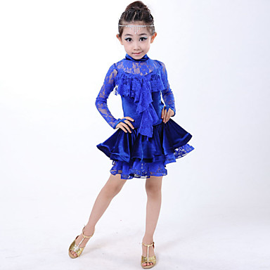 Latein-Tanz Kinder Elasthan Spitzen 2 Stück Ärmellos Kleid Kopfbedeckungen