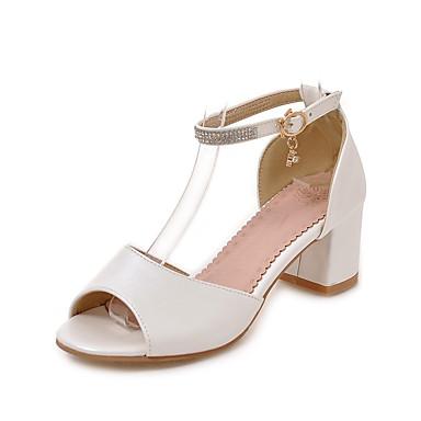 Naisten Kengät Synteettinen Kesä Gladiaattori Comfort Sandaalit Stilettikorko varten Puku Valkoinen Musta Pinkki