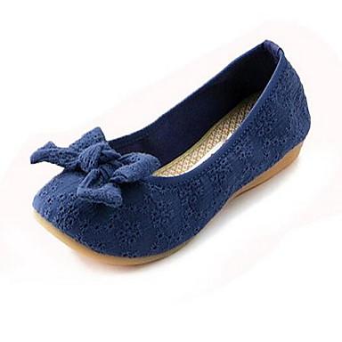 Mulheres Sapatos Tecido Primavera Verão Conforto Rasos Sem Salto Ponta Redonda Laço para Casual Preto Cinzento Azul