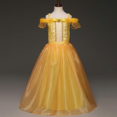 Χαμηλού Κόστους Φορέματα για κορίτσια-Κοριτσίστικα Κινούμενα σχέδια Μοντέρνα Πεπαλαιωμένο Αμάνικο Βαμβάκι Σατέν Μείγμα Πολυέστερα / Βαμβακιού Φόρεμα Χρυσό