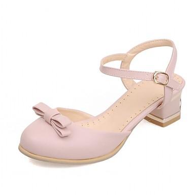Mulheres Sapatos Sintético Courino Couro Ecológico Primavera Verão Conforto Inovador Saltos Caminhada Salto Robusto Ponta Redonda Laço