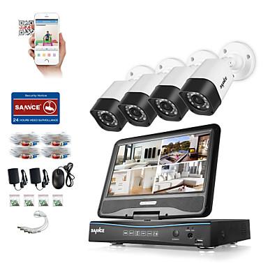 Sanzence 4ch 4pcs 720p dvr (mit lcd) wetterfest Hausüberwachung Sicherheitssystem unterstützt analoge ahd tvi ip-Kamera ohne Festplatte