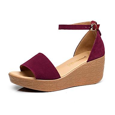 Mulheres Sapatos Sintético Verão Conforto Sandálias Salto Plataforma Peep Toe Branco / Preto / Fúcsia