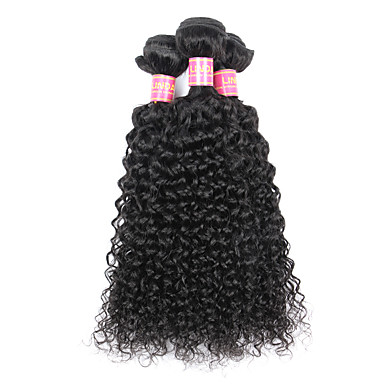 baratos Extensões de Cabelo Natural-3 pacotes Cabelo Brasileiro Kinky Curly Weave Curly Cabelo Virgem Cabelo Humano Ondulado Tramas de cabelo humano Extensões de cabelo humano / Crespo Cacheado