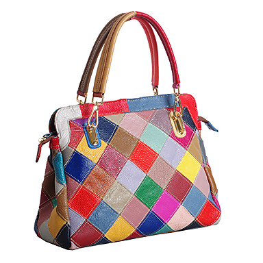 Women's Bags Cowhide Tote for Event / Party Rainbow