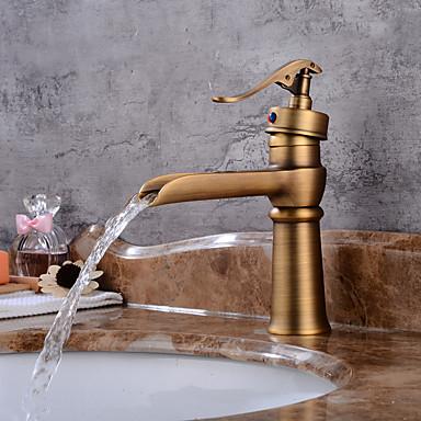 Torneira pia do banheiro - Cascata Cobre Envelhecido Conjunto Central Monocomando e Uma Abertura