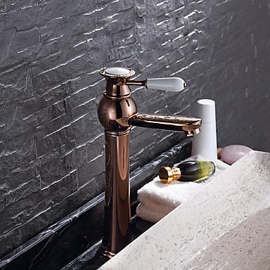 Modern Mittellage Keramisches Ventil Einhand Ein Loch Rotgold , Waschbecken Wasserhahn