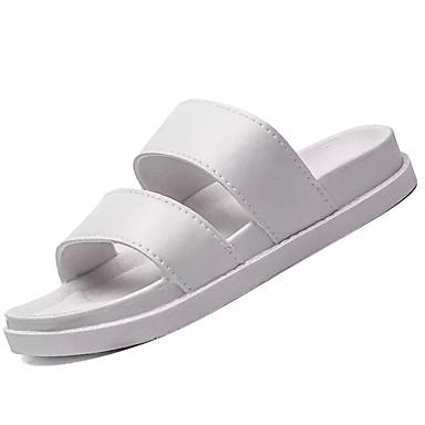 Dámské Boty PU Léto Pohodlné Sandály Rovná podrážka pro Venkovní Bílá Černá