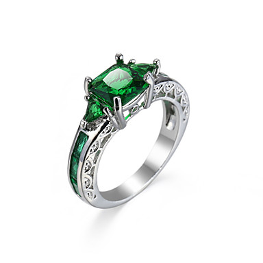 Women's Synthetic Emerald Ring - Zircon, Emerald, Alloy Unique Design, Fashion, Euramerican 6 / 7 / 8 / 9 / 10 Green For Wedding Special Occasion Anniversary