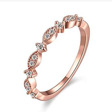 Dámské Syntetický diamant Prsten - Rose Gold, Pozlacené Módní 5 / 6 / 7 Bílá / Růžová Pro Narozeniny / Gratulace / Dar