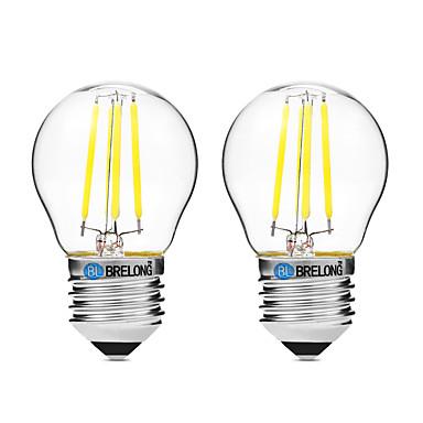 BRELONG® 2pcs 4W 300lm E27 LED Filament Bulbs G45 4 LED Beads COB Dimmable Warm White White UV (Blacklight) 200-240V