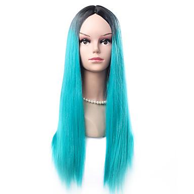Damen Synthetische Perücken Kappenlos Lang Glatt Blau Natürliche Perücke Kostüm Perücken