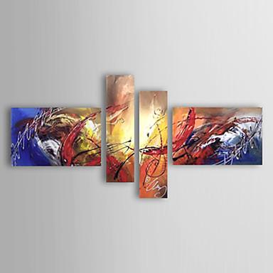Ručně malované Abstraktní jakýkoliv tvar, evropský styl Moderní Plátno Hang-malované olejomalba Home dekorace Čtyři panely