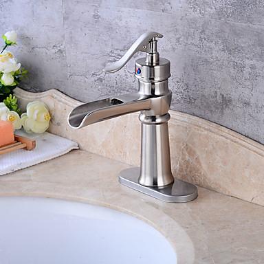 Antike Art déco/Retro Traditionell Mittellage Keramisches Ventil Einzigen Handgriff Zwei Löcher Waschbecken Wasserhahn