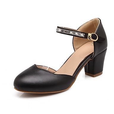 Mulheres Sapatos Sintético Courino Couro Ecológico Verão Outono Conforto Inovador Saltos Caminhada Salto Robusto Ponta Redonda Pedrarias