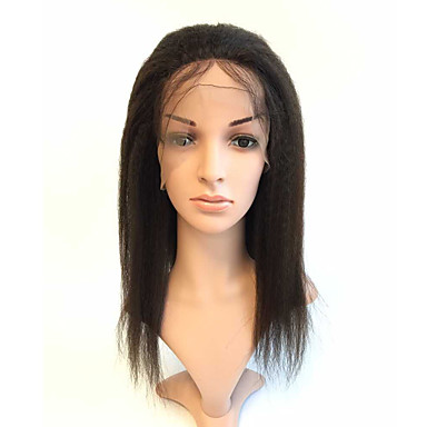 Human Hair Glueless Full Lace / Full Lace Wig Straight / kinky Straight Wig 130% Natural Hairline / African American Wig / 100% Hand Tied Women's Medium Length / Long Human Hair Lace Wig