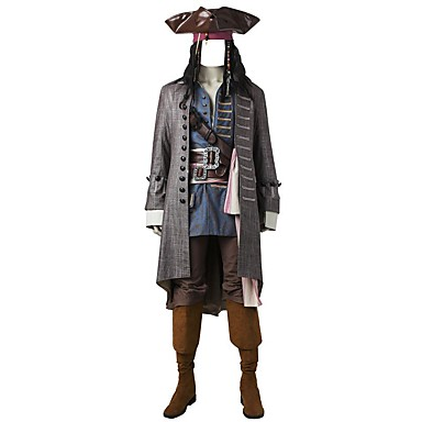 Pirates of the Caribbean Captain Jack Sparrow Cosplay Costume Party Costume Movie Cosplay Coat Vest Shirt Pants Belt Boots More