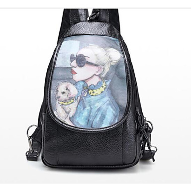 Unisex Bags PU Backpack for Casual All Seasons Black