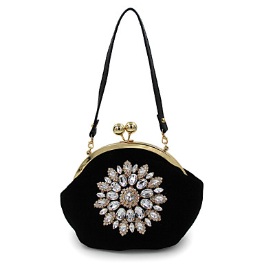 Women Bags Polyester Evening Bag Rhinestone Bead Flower for Wedding Event/Party Casual Formal Office & Career All Seasons Blue Black Red