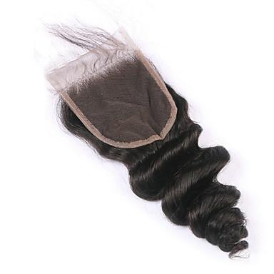 1 Piece Free Part Closure Loose Wave Virgin Brazilian Hair 130% Density Lace Closure Natural Hair Color