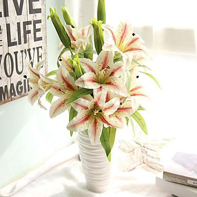 1 Branch Plastic Lilies Tabletop Flower Artificial Flowers