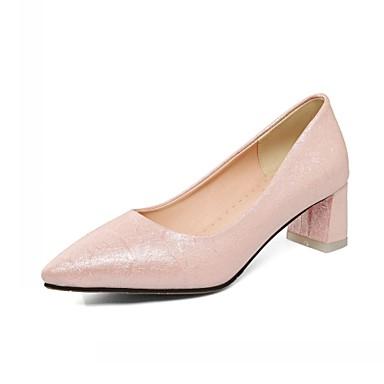 Mulheres Sapatos Sintético Couro Ecológico Verão Outono Conforto Inovador Saltos Caminhada Salto Robusto Dedo Apontado Presilha para
