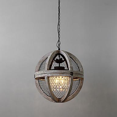 3-luz Lustres Luz Descendente Acabamentos Pintados Madeira / Bambu Estilo Mini 110-120V / 220-240V Lâmpada Não Incluída / E12 / E14