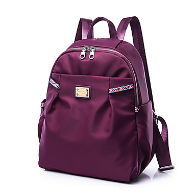 Women's Bags PU Nylon School Bag for Casual Sports Formal Traveling Office & Career Outdoor All Seasons Black Amethyst