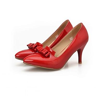 Mulheres Sapatos Couro Envernizado Primavera / Outono Conforto / Inovador Saltos Caminhada Salto Agulha Dedo Apontado Laço Preto /