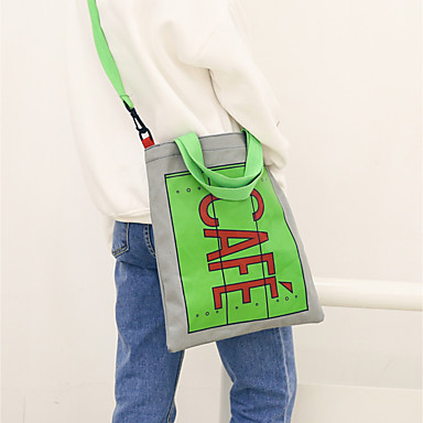 Women Shoulder Bag Canvas All Seasons Casual Rectangle Without Zipper Blue Gray Yellow Clover