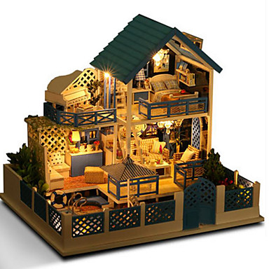 Dollhouse Model Building Kit Doll Toys DIY House Natural Wood Classic Pieces Unisex Birthday Gift