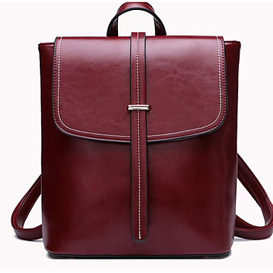 Women's Bags Cowhide Backpack for Casual All Seasons Black Red
