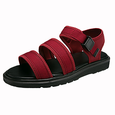 Women's Shoes PU Summer Comfort Sandals Walking Shoes Flat Heel Round Toe for Casual Black Dark Blue Burgundy